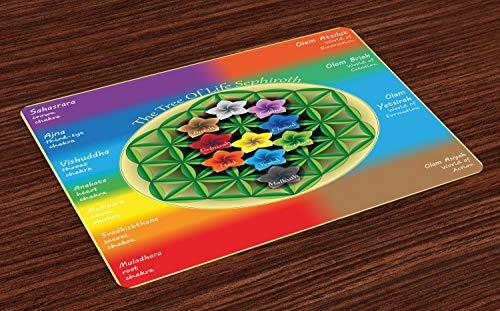 ABAKUHAUS Abstrakt Platzmatten, Baum des Lebens-Diagramms mit geistigem Chakra und Universum-Ikonen blüht Yoga-Muster, Tiscjdeco aus Farbfesten Stoff für das Esszimmer und Küch, Mehrfarbig -