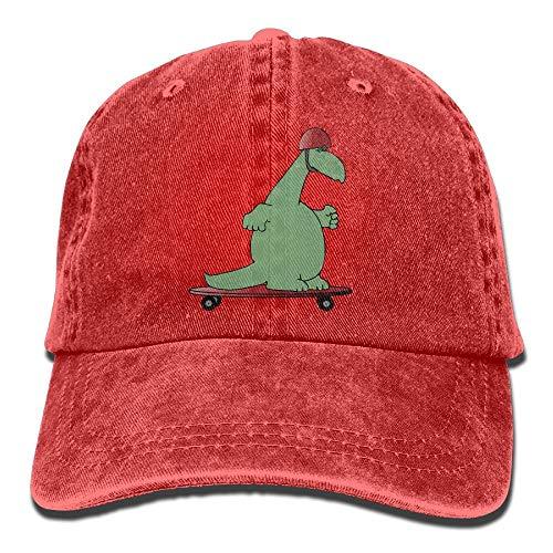 kslae Dinosaurier-Schutzhelm-Dia-Platten-Weinlese-Fernlastfahrer-Hut Gewaschene Denim-Erwachsene Cowboyhut-Baseballmütze