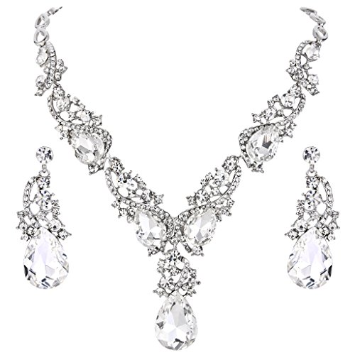 Clearine Damen Hochzeit Braut Kristall Multi Tropfen Cluster Statement Halskette Dangle Ohrringe Set Klar Silber-Ton