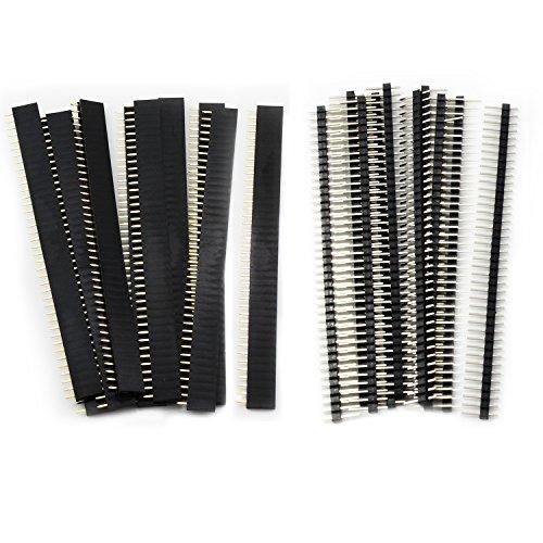 Aussel 20 Stück 2.54mm Breakaway Platine 40Pin Stecker und Buchsenleiste für Arduino Shield (PIN-2...