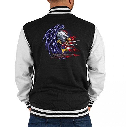 USA Biker College-Jacke - Righteous Ruler mit USA Flagge und Adler - Geschenk-Idee mit patriotischem Motiv für Herren, Größe:XL