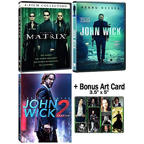 The Keanu Reeves Fanatic Collection: The Matrix Trilogy + John Wick 1-2 DVD Bundle + Bonus Art Card
