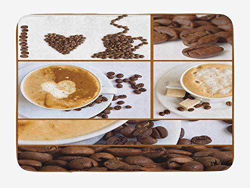 OQUYCZ Kitchen Bath Mat, Coffee Themed Collage of Beans Mugs Hot Foamy Drink with a Heart Macro Aroma Photo, Plush Bathroom Decor Mat with Non Slip Backing, 23.6 W X 15.7 W Inches, Brown White (Yoga-matte Bean)