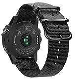 Fintie Armband für Garmin Fenix 3 / Fenix 3 HR/Fenix 5X / Fenix 5X Plus - Nylon atmungsaktive Uhrenarmband Sport Armband verstellbares Ersatzband mit Edelstahlschnallen, Schwarz