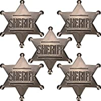 5 Pieces Deputy Badge Metal Sheriff Badge Old West Cowboy Costume Prop Badge Black Sliver Halloween Badge Party Supplies