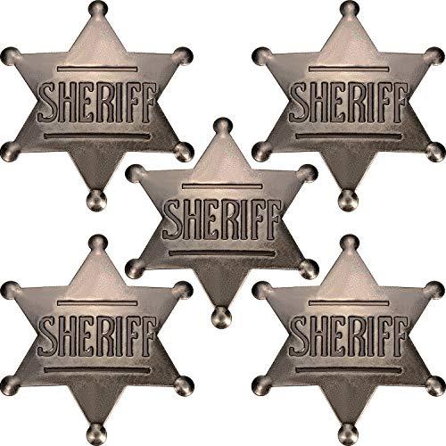 Sheriff Kostüm Abzeichen - Boao 5 Stücke Stellvertretender Abzeichen Metall Sheriff Abzeichen Alt West Cowboy Kostüm Requisit Abzeichen Schwarz Silber Halloween Abzeichen Party Gefallen