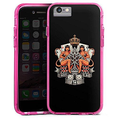 Apple iPhone 8 Bumper Hülle Bumper Case Glitzer Hülle Poker Ass Spruch Bumper Case transparent pink