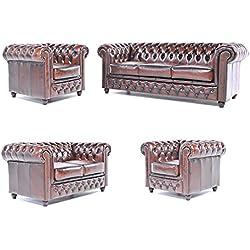 Original Chesterfield Sofas und Sessel - 1 / 1 / 2 / 3 Sitzer - Vollständig Handgewaschenes Leder – Antik Braun