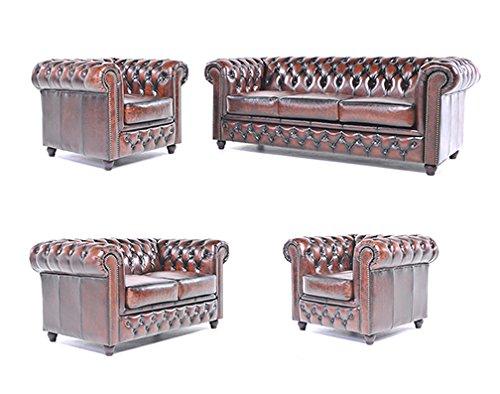 Original Chesterfield Sofas und Sessel – 1 / 1 / 2 / 3 Sitzer – Vollständig Handgewaschenes Leder – Antik Braun