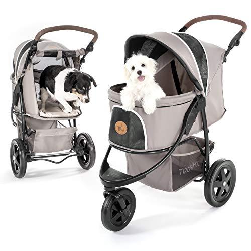 TOGfit Pet Roadster - Luxus Hundewagen & Haustier Buggy bis 32 kg - große Räder, flexible Schieberhöhe, inkl. Liegematratze, klein faltbar - Grau
