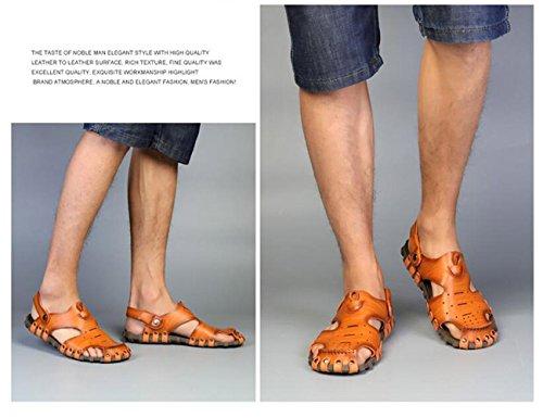 Dual toe Brown Größe sport Beauqueen Sommer Eu Schuhe Outdoor Hausschuhe Casual rutsch Cloesd Outsoles use Soft Anti 44 Yellow 38 Pantoffeln Strand Man's Sandalen Eq7qwg