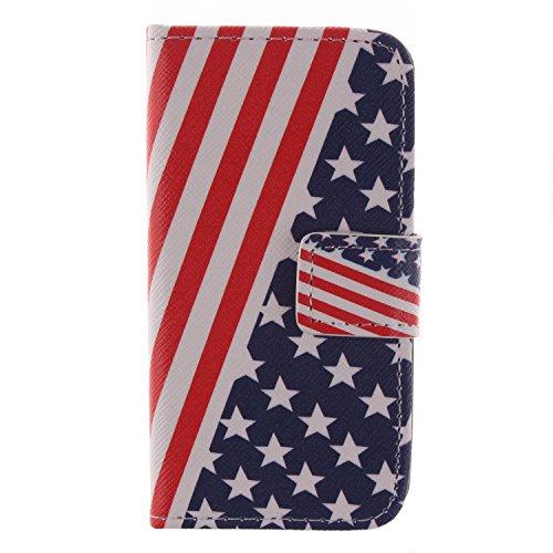 MCHSHOP(TM) Vielzahl von Mustern Book Style Design Leder Tasche Flip Case Cover Schutzhülle Etui Hülle Schale Für Apple IPhone 4 4S mit Kartensteckplätze Standfunktion - 1 Touch pen kostenlos (Blumen  Flagge der Vereinigten Staaten (Flag of the United Sta