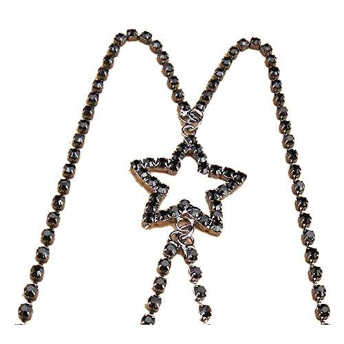 Strass BH Träger,TININNA Damen Frauen Stern Strass Diamant Rückenfrei Rückenkonverter BH-Verlängerer BH Verlängerung Schwarz (Dancewear Sterne)
