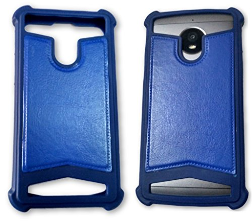 BKDT Marketing Rubber and Leather Soft Back Cover for Panasonic P81- Blue