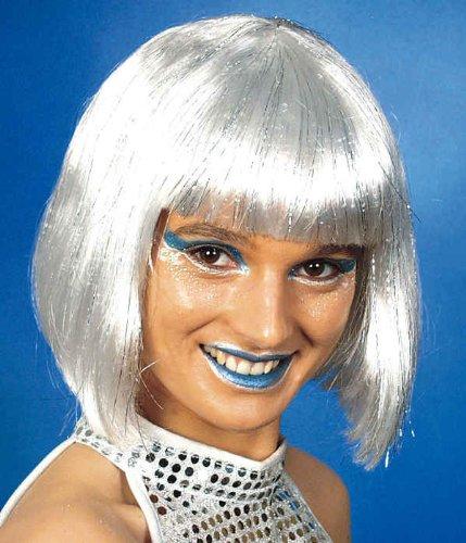 Damen Perücke Space Girl in weiß-silber zum Kostüm Karneval (Silber Space Kostüm Girl)