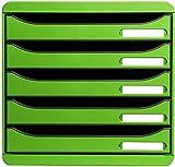 Exacompta 309795D - Caja organizadora, 5 cajones, color verde