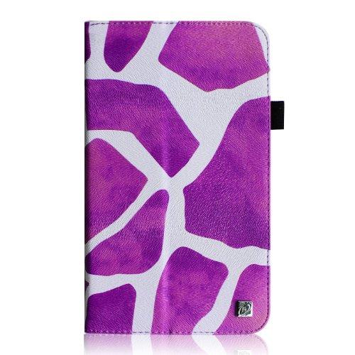 Fintie Samsung Galaxy Tab 3 7.0 (7 Zoll) SM-T210 SM-T211 Hülle Case - Slim Fit Folio Bookstyle Kunstleder Schutzhülle Cover Tasche mit Ständerfunktion und Stylus-Halterung, Giraffe Lila