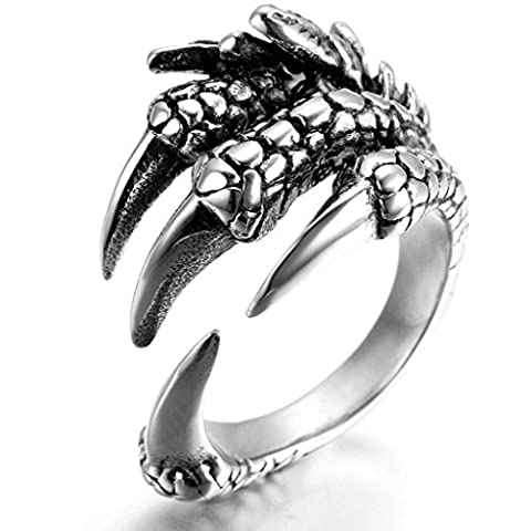 Stainless Steel Ring for Men, Claw Ring Gothic Silver Band 22MM Size Z 1/2 Epinki