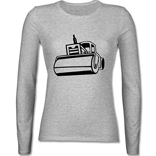 Andere Fahrzeuge Dampfwalze tailliertes Longsleeve / langärmeliges TShirt  für Damen Grau Meliert