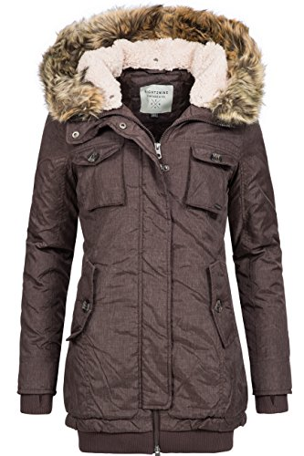 Winterjacke | Wintermantel für Damen von Eight2Nine - eleganter Winter-Mantel im schlanken Parka-Stil mit Fellkapuze aus Kunstpelz in Braun, Größe M