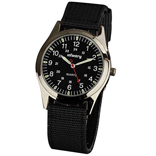 Infantry IN-018-BLK-N Herren Analoges Quarzwerk Armbanduhr Uhren Fliegeruhren Outdooor Analog Quarzuhr Schwarz Nylon Armband