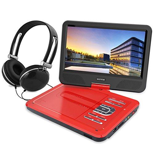 """WONNIE 10,5"""" Lecteur DVD portable avec un écran rotatif 270°, Carte SD et prise USB avec charge directe Formats / RMVB / AVI / MP3 / JPEG, Parfait pour Enfants (Rouge)"""