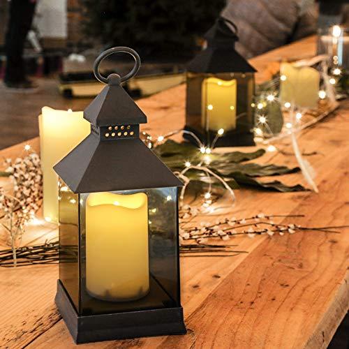 Farol con vela LED a pilas-gris