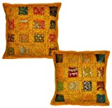 2 Pcs Indian Traditional Home Décor Cotton Kissenbezug mit Pailletten, Stickerei und Patchwork, 41 x 41 cm (gelb)