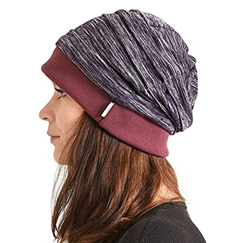 Casualbox Mens Slouch Beanie Hat Light Weight Cooling Dye Effect Japanese Purple