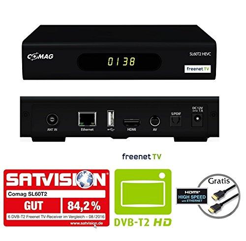 COMAG SL60T2 FullHD HEVC DVBT/T2 Receiver (H.265, HDTV, HDMI, Irdeto Zugangssystem, freenet TV, Mediaplayer, PVR Ready, USB 2.0, 12V) inkl. HDMI-Kabel, schwarz