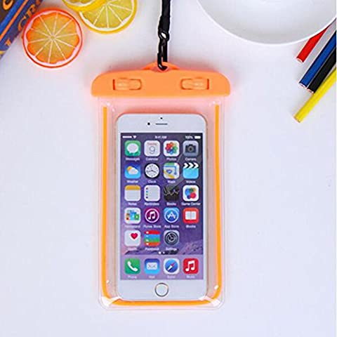 For Imperméable Phone Case,Maetek PVC Lumineux Case Cover Imperméable Cell Phone Sac à sac sec for Smartphone up to 6 inches-Orange