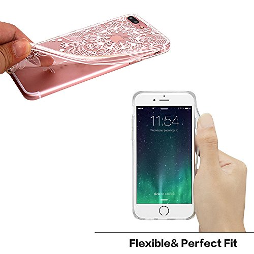 JIAXIUFEN TPU Gel Silicone Protettivo Skin Custodia Protettiva Shell Case Cover Per Apple iPhone 7 (2016) / iPhone 8 (2017) - Fiore Floreale Design Rose Flower Floral Mandala