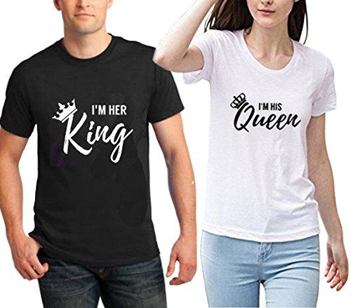*King Queen T-shirt SetPärchen T-Shirt mit König Königin Paar T-shirt als Hochzeitstagsgeschenk und Geburtstagsgeschenk 2 Stücke (King-S+White Queen-S)*