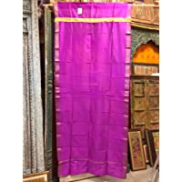 Mogul Interior Sari Curtains Fuchsia Pink Brocade Silk Saree Drapes Window Panels