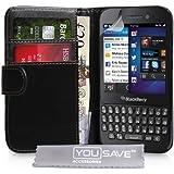 Yousave Accessories Etui portefeuille en PU cuir pour BlackBerry Q5 Noir