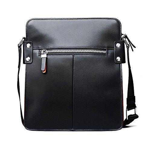 Padieoe Schultertasche Leder Umhängetasche Herren Schule Herrentaschen Kuriertasche Taschen Messenger Bag für Reisen Sporttasche Blau (NB130115-4LD) Schwarz