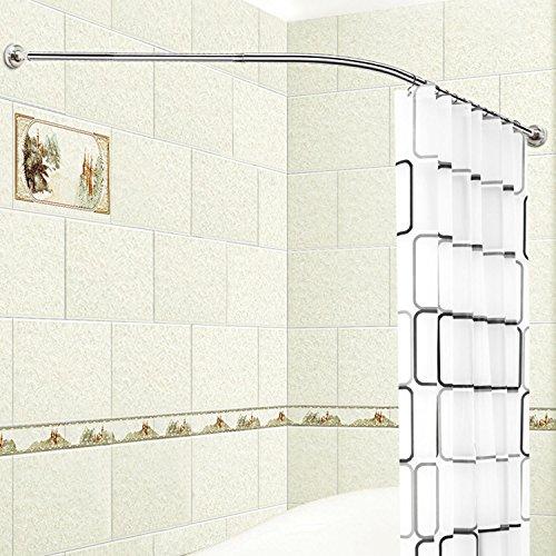 Asta per tende da doccia e vasca da bagno, in acciaio inox, forma a ...