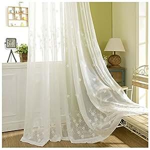 cystyle 1er stickerei blumen schal baumwolle leinen vorhang dekosachl transparent gardinen. Black Bedroom Furniture Sets. Home Design Ideas