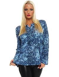 BENTER Damen Bluse Oberteil Shirt gepunktet Fischerhemd Baumwolle Langarmbluse Casual Regular Fit 16963
