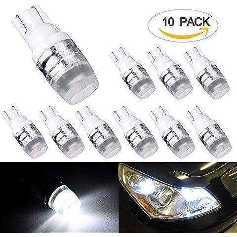 Lampadine LED ezykoo Confezione da 10lampadine T10cuneo Lampadine LED Alta Potenza 1W 12V sostituzione 194168192921per interni, Targa, parcheggio Side Marker Light