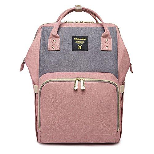 Preisvergleich Produktbild HEYI Mutifunktionale Wickeltasche Rucksack, Wasserdichte Wickelrucksack Tasche, Große Reisetasche für Mutter und Baby (Rosa mit Grau)