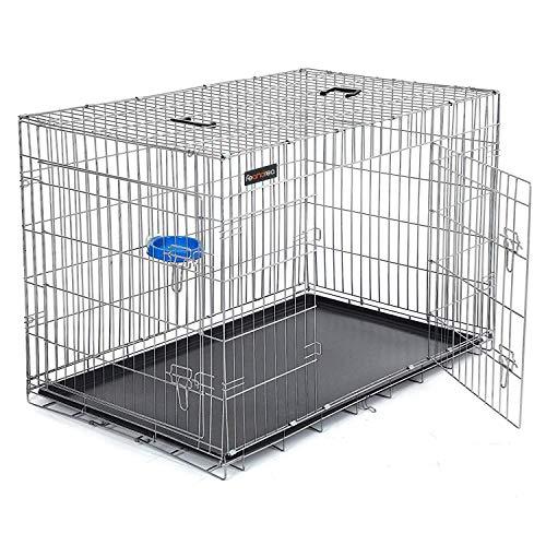 SONGMICS HundeKäfig 2 Türen Hundebox Transportbox DrahtKäfig Katzen Hasen Nager Kaninchen Geflügel Käfig Silber XXXL 122 x 81 x 76 cm PPD48W