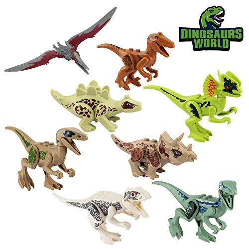 (Baztoy Kinder Dinosaurier Figuren Spielzeug, 8PCS Dino Bausteine Spiele Sets Kunststoff Klein, Dinosaurier World Tiere Spielzeug Perfekt für Kindergeburtstag Party Dekoration, Jungen Mädchen Kinder)