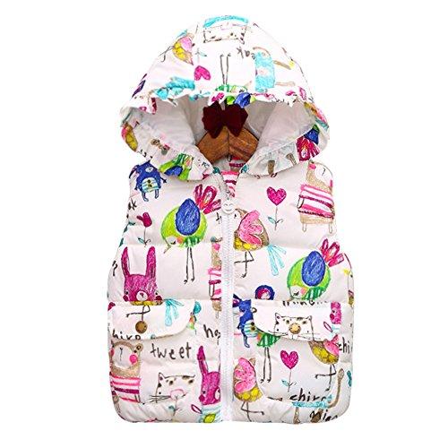 Brightup Filles Enfants Vestes Sans manche Polaires Gilet Manteau Graffiti Imprimer Hooded Waistcoat