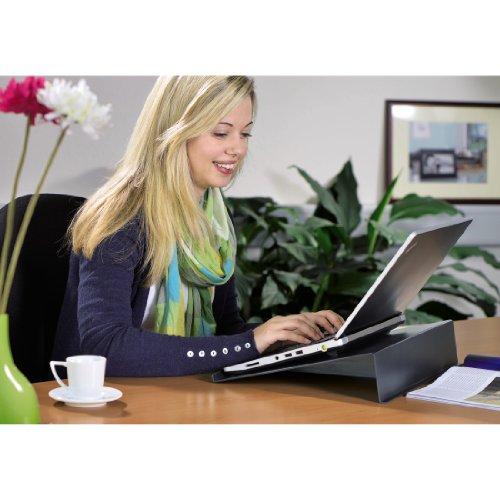 Hama Laptopstnder Kochbuchstnder in Carbonoptik Laptophalter fr Notebooks Laptops Tablet eBook Reader Notenhefte und Bcher rutschfeste Gummife Sttze 40 x 30 x 8 cm ergonomisch schwarz Stnder Sttzen