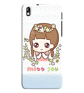 Fuson Premium Miss You Printed Hard Plastic Back Case Cover for HTC Desire 816G