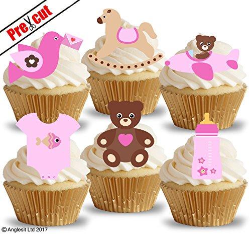 e Baby Girl Toys & Zubehör VI. essbarem Reispapier/Waffel Papier Cupcake Kuchen Topper Party Baby Dusche Geburtstag Kinder Kinder Dekorationen (Teddy Bear Baby-dusche Dekorationen)