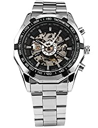 AGENT X Mens Wrist Watch Automatic Mechanical Self-wind Stainless Steel Strap Skeleton 2017 New
