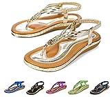 Socofy Women's Flat Sandals Summer Clip Toe Flip Flops Thongs Bohemian Style Beach