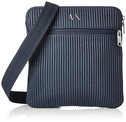 Armani Exchange Herren Lines Crossbody Bag Business Tasche, Blau (Navy), 23x0.5x22 cm